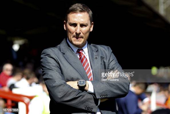 Aldershot manager Andy Scott looks on prior to the npower League Two match between Aldershot Town and Dagenham and Redbridge at the EBB Stadium on...