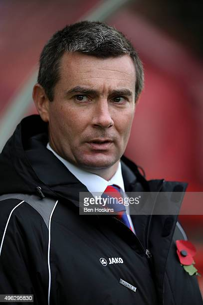 Aldershot manager Barry Smith looks on ahead of The Emirates FA Cup First Round match between Aldershot Town and Bradford City on November 8 2015 in...