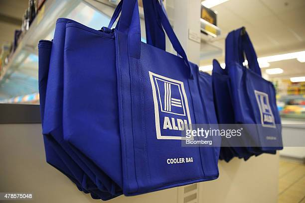 Aldi Stores Ltd branded cooler bags are displayed inside one of the company's supermarket in Sydney Australia on Thursday June 25 2015 Australia's...