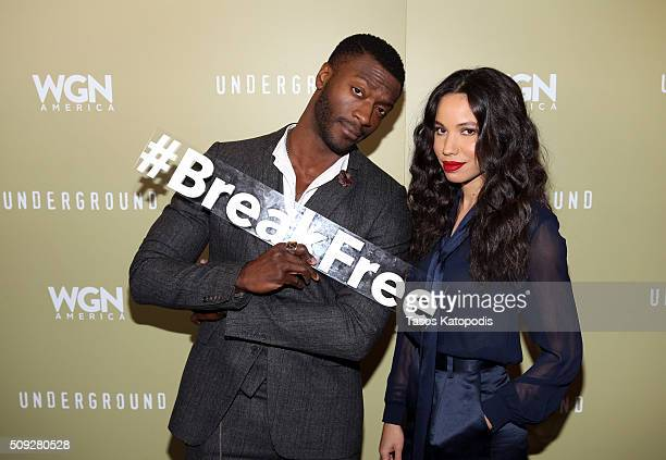 Aldis Hodge and Jurnee SmollettBell attends the Chicago screening of WGN America's new series 'Underground' at The DuSable Museum of African American...