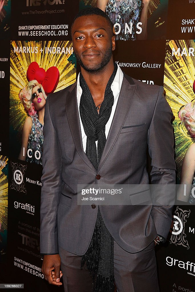 Aldis Hodge arrives at Markus + Indrani Icons book launch party hosted by Carmen Electra benefiting The Trevor Project at Merry Karnowsky Gallery & Graffiti on January 10, 2013 in Los Angeles, California.