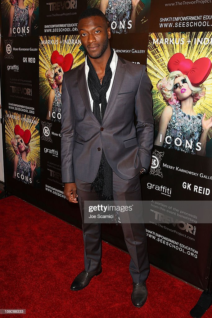 <a gi-track='captionPersonalityLinkClicked' href=/galleries/search?phrase=Aldis+Hodge&family=editorial&specificpeople=2164244 ng-click='$event.stopPropagation()'>Aldis Hodge</a> arrives at Markus + Indrani Icons book launch party hosted by Carmen Electra benefiting The Trevor Project at Merry Karnowsky Gallery & Graffiti on January 10, 2013 in Los Angeles, California.