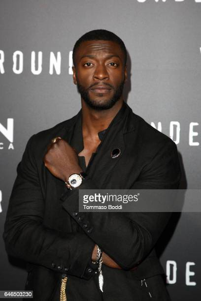 Aldis Hodge attends the premiere of WGN America's 'Underground' Season 2 held at the Westwood Village on February 28 2017 in Los Angeles California