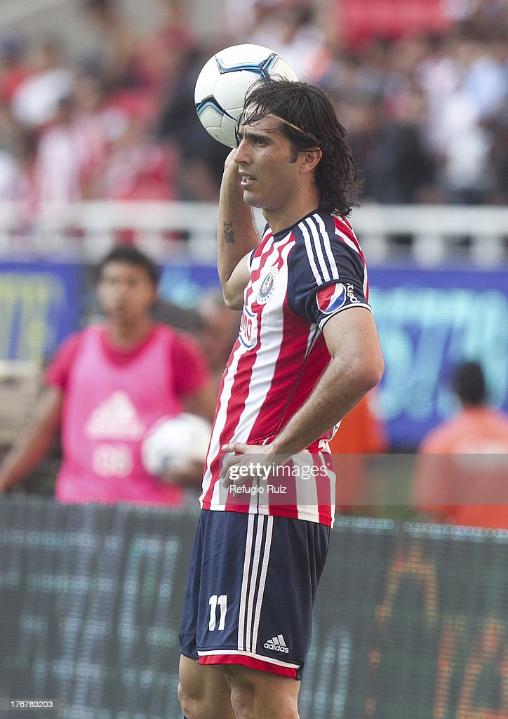 <a gi-track='captionPersonalityLinkClicked' href=/galleries/search?phrase=Aldo+de+Nigris&family=editorial&specificpeople=811979 ng-click='$event.stopPropagation()'>Aldo de Nigris</a> of Chivas during a match between Chivas and Puebla as part of the Torneo Apertura Liga MX at the Omnilife Stadium on August 18, 2013 in Guadalajara, Mexico.