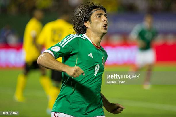 Aldo de Nigris of Mexico celebrates a goal during a match between Mexico and Jamaica as part of the FIFA 2014 World Cup Qualifiers at National...