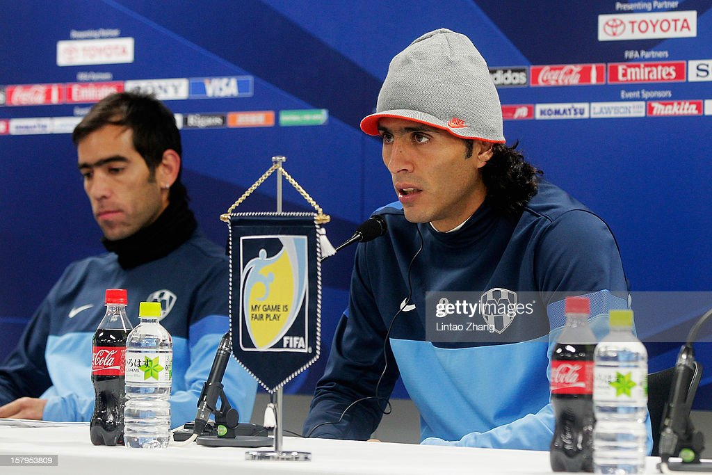 Aldo de Nigris (R) of Monterrey answers a question during a CF Monterrey press conference at Toyota Stadium on December 8, 2012 in Toyota, Japan.