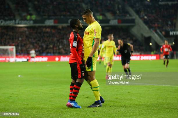 Aldo Kalulu of Rennes and Diego Santos Silva of Nantes during the French Ligue 1 match between Rennes and Nantes at Stade de la Route de Lorient on...