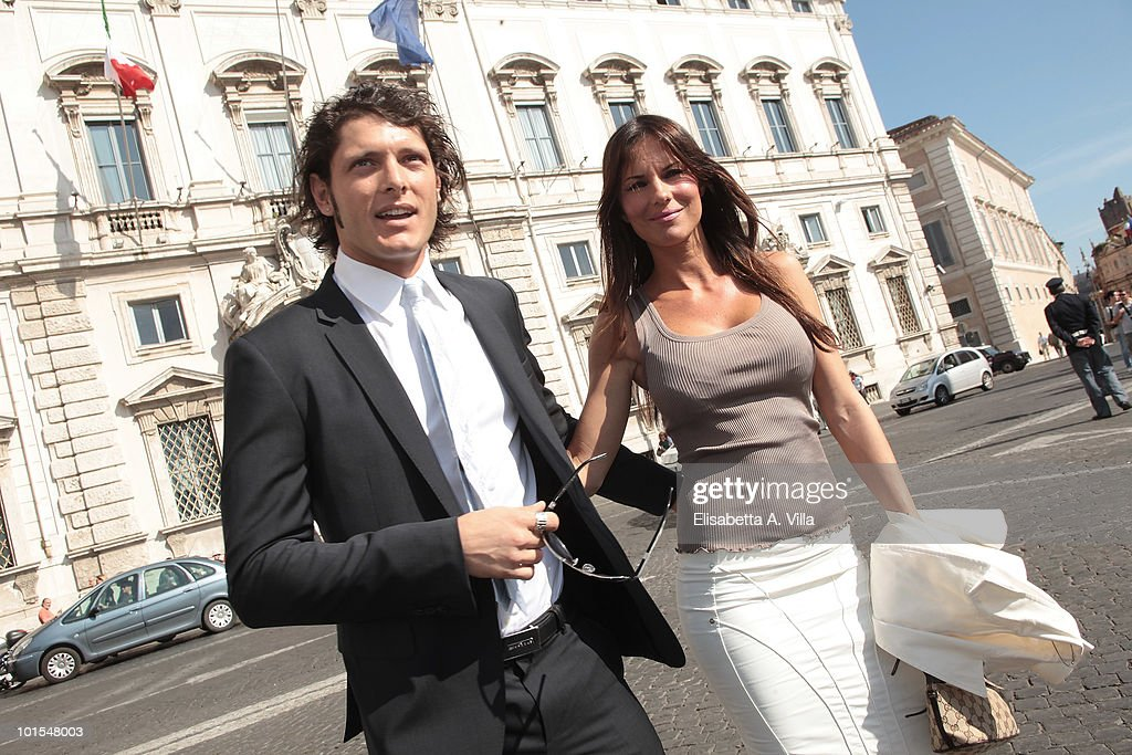 Aldo Montano and fiancee Antonella Mosetti arrive at the Quirinale Palace to attend a Gala Dinner hosted by Italy's President Giorgio Napolitano on June 1, 2010 in Rome, Italy.
