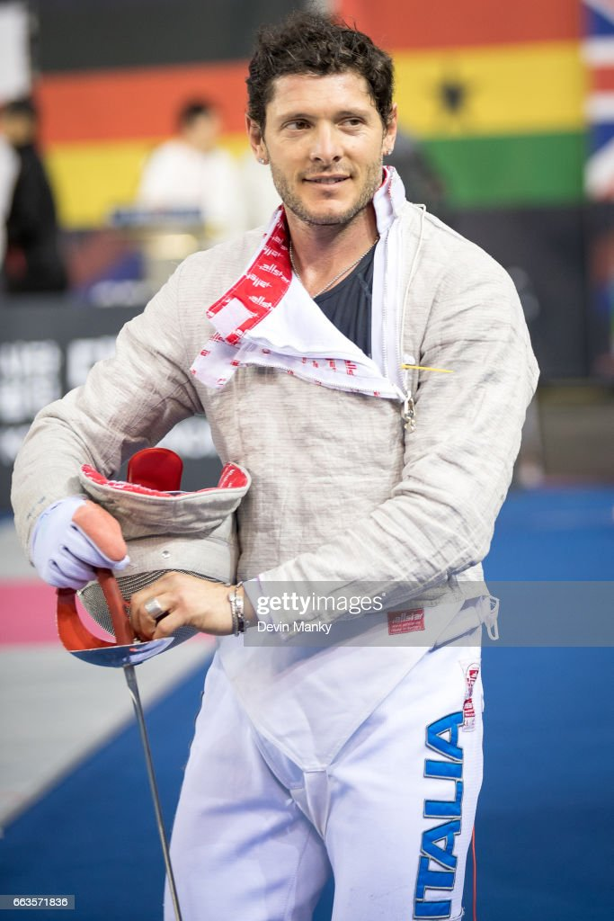 Aldo Montano of Italy smiles after a victory during competition at the SK Telecom Seoul Sabre Grand Prix on April 1st, 2017 at the SK Telecom Handball Stadium in Seoul, Korea.