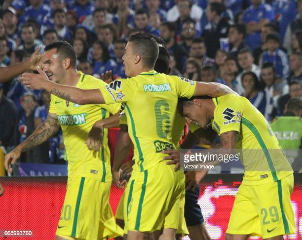 Aldo Ramirez of Atletico Nacional celebrates after scoring his team's winning goal during the match between Millonarios and Atletico Nacional as part...