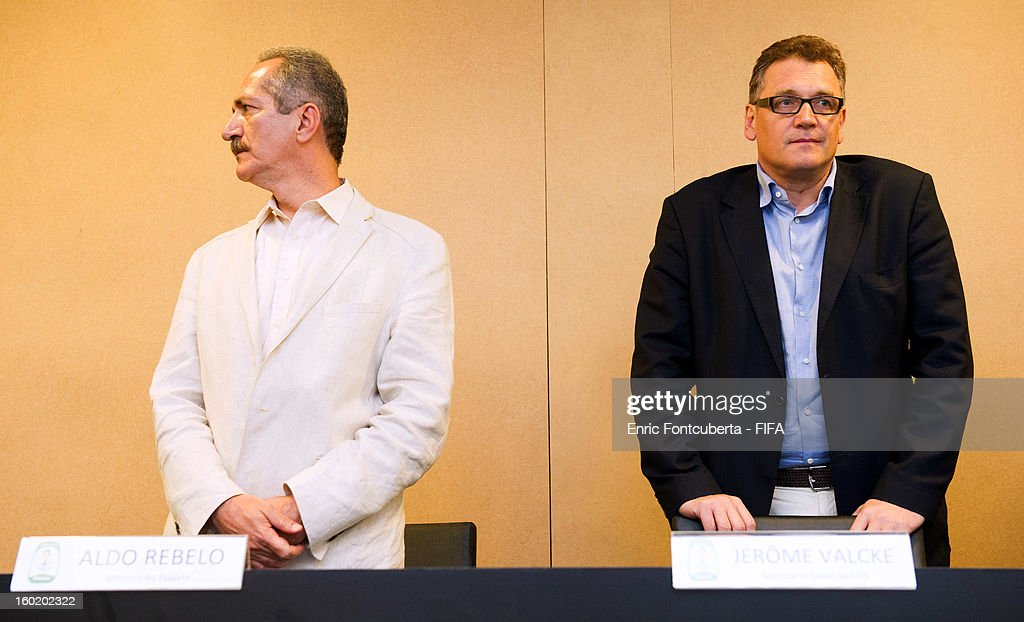 Aldo Rebelo, Brazilian Sports Minister, and Jerome Valcke, FIFA Secretary General, attand a press conference during the 2014 FIFA World Cup Host City Tour on January 27, 2013 in Fortaleza, State of Ceara, Brazil.