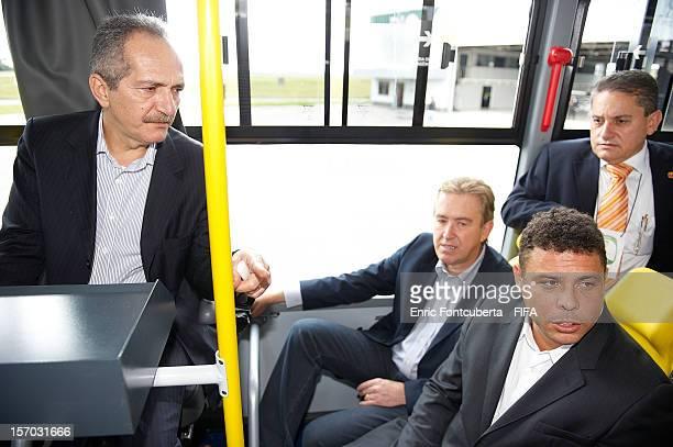 Aldo Rebelo Brazilian Sports Minister Ronaldo Luis Nazario da Lima former Brazilian player and LOC Member and Luciano Ducci Curitiba Mayor ride on a...