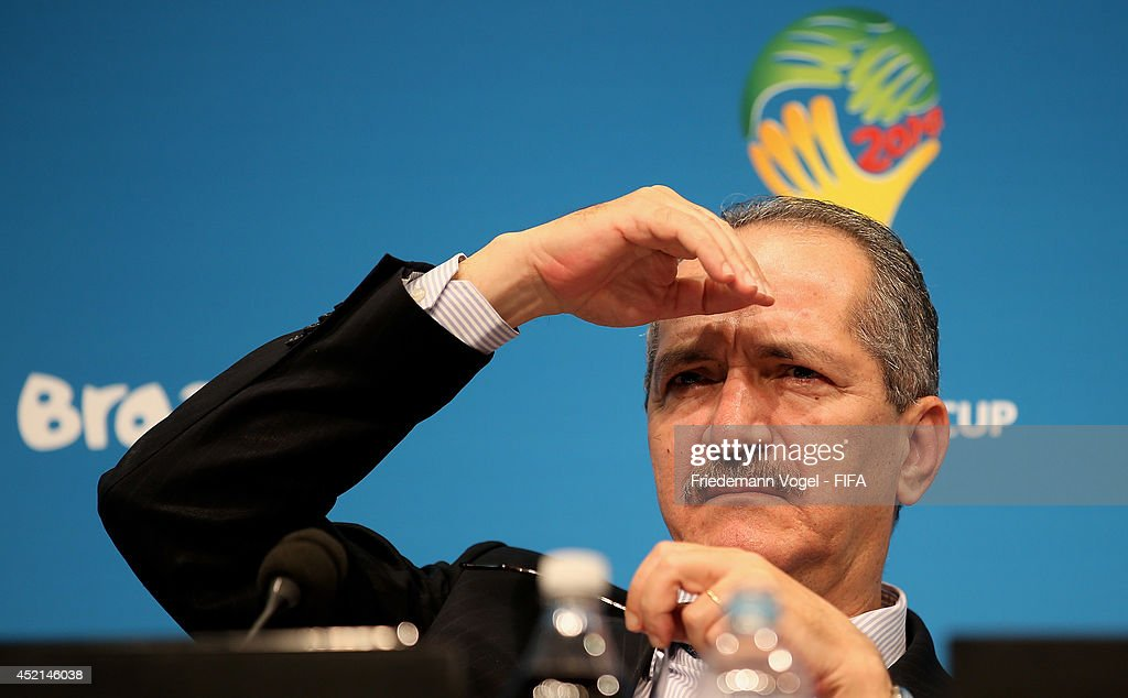 <a gi-track='captionPersonalityLinkClicked' href=/galleries/search?phrase=Aldo+Rebelo&family=editorial&specificpeople=772117 ng-click='$event.stopPropagation()'>Aldo Rebelo</a>, Brazil's Minister of Sports looks on during a Press Conference at Maracana on July 14, 2014 in Rio de Janeiro, Brazil.