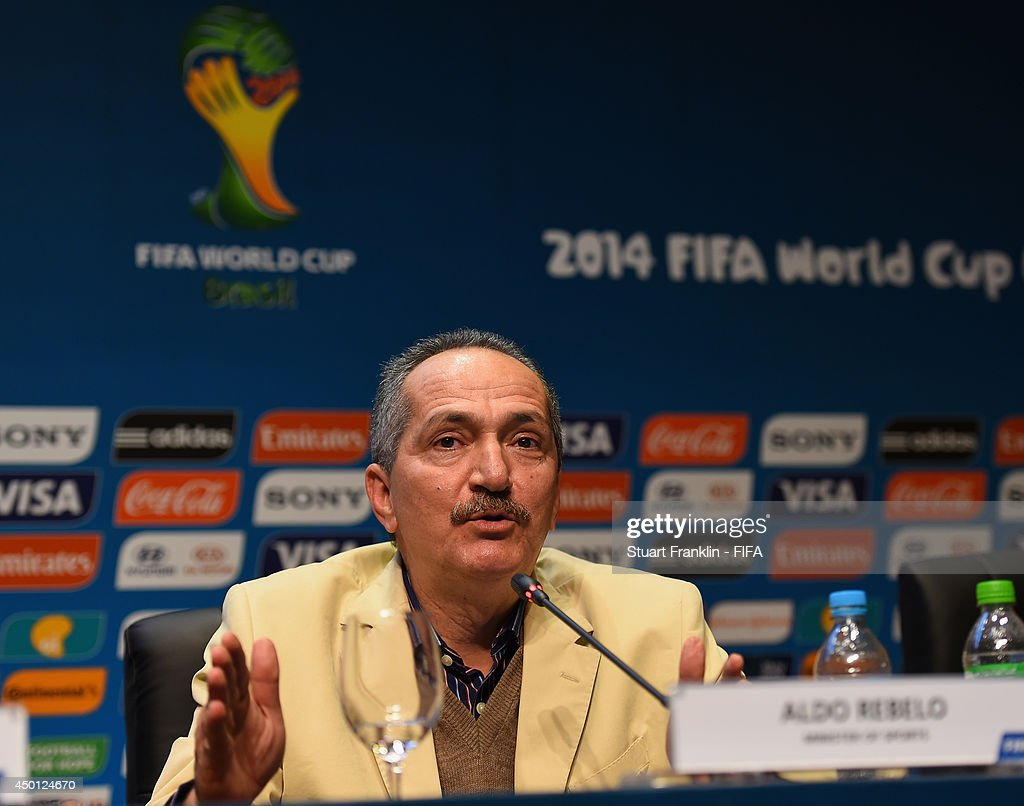 <a gi-track='captionPersonalityLinkClicked' href=/galleries/search?phrase=Aldo+Rebelo&family=editorial&specificpeople=772117 ng-click='$event.stopPropagation()'>Aldo Rebelo</a>, Sports Minister of Brazil addresses members of the media after the meeting of the Organizing Committee for the FIFA 2014 World Cup prior to the start of the 2014 FIFA World Cup Organising Committee meeting at the Grand Hyatt Sao Paulo Hotel on June 5, 2014 in Sao Paulo, Brazil.