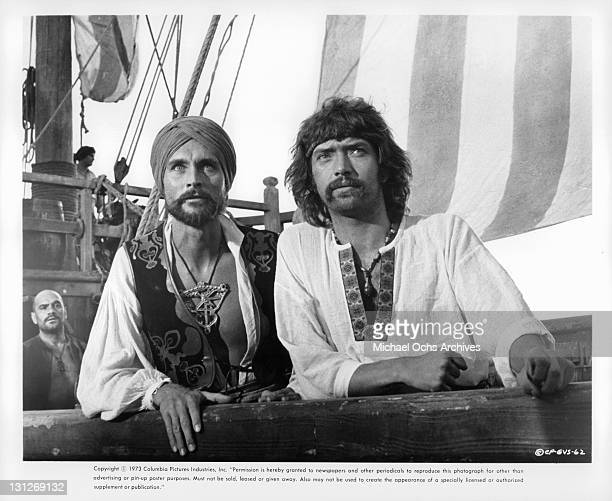 Aldo Sambrell John Phillip Law and Martin Shaw on the ship's deck in a scene from the film 'The Golden Voyage Of Sinbad' 1973