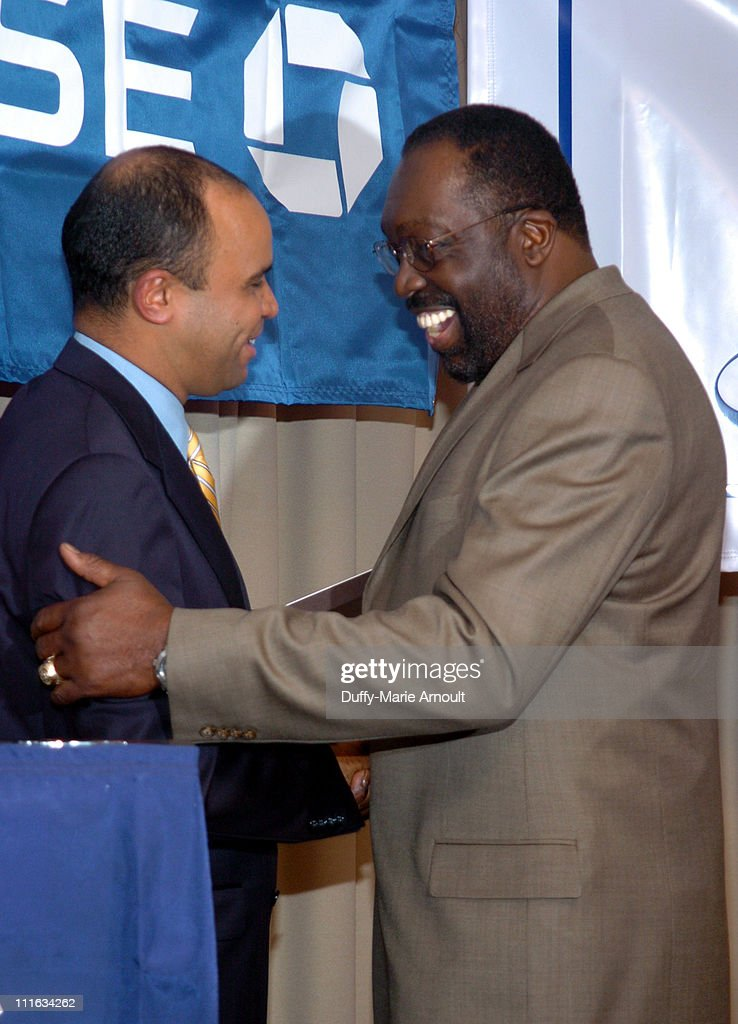 Aldofo Carrion and Earl Monroe during Marcia Gay Harden Presents Annual Sports and Arts City Hero Award 2006 at JP Morgan Chase in New York City New...