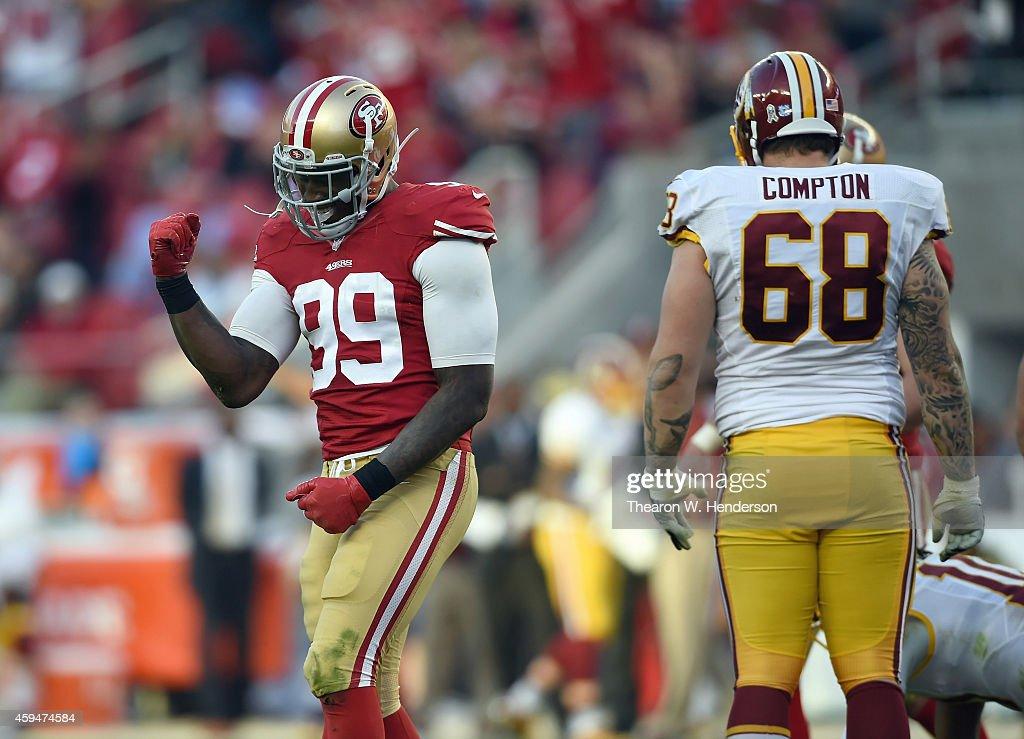 Aldon Smith of the San Francisco 49ers celebrates a touchdown against the Washington Redskins at Levi's Stadium on November 23 2014 in Santa Clara...