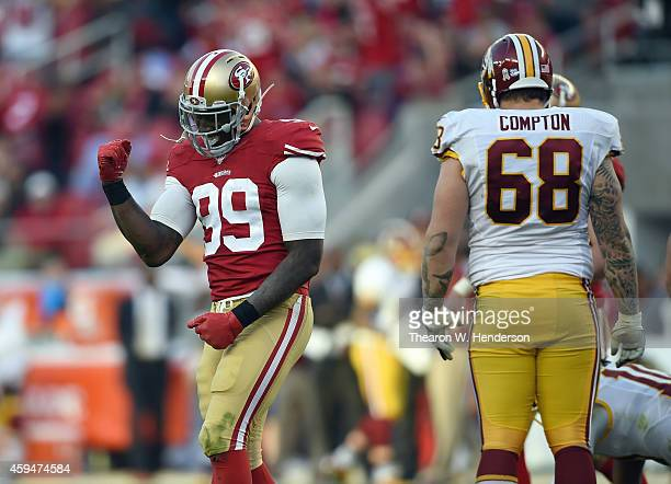 Aldon Smith of the San Francisco 49ers celebrates a touchdown against the Washington Redskins at Levi's Stadium on November 23 2014 in Santa Clara...