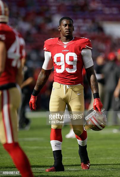 Aldon Smith of the San Francisco 49ers is seen during pregame against the Washington Redskins at Levi's Stadium on November 23 2014 in Santa Clara...
