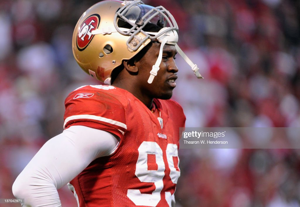 Aldon Smith of the San Francisco 49ers looks on during the NFC Divisional playoff game against the New Orleans Saints at Candlestick Park on January...