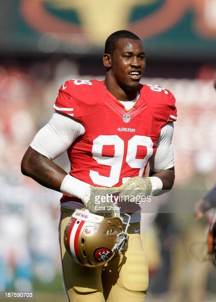 Aldon Smith of the San Francisco 49ers warms up before their game against the Carolina Panthers at Candlestick Park on November 10 2013 in San...