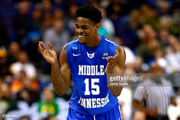 Aldonis Foote of the Middle Tennessee Blue Raiders reacts after a play in the second half against the Michigan State Spartans during the first round...