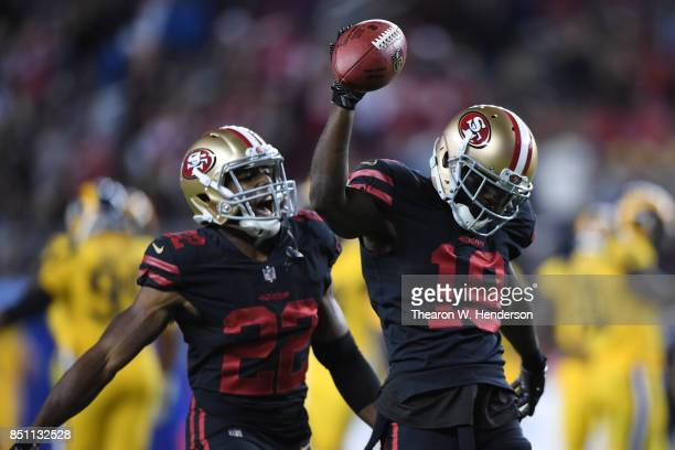 Aldrick Robinson of the San Francisco 49ers celebrates after recovering a fumble by the Los Angeles Rams during their NFL game at Levi's Stadium on...