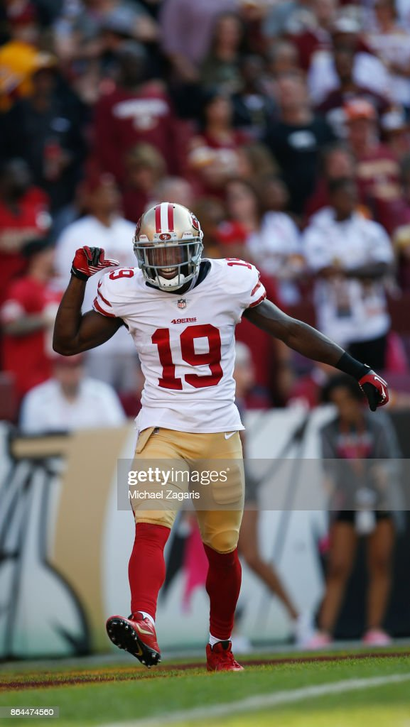 Aldrick Robinson #19 of the San Francisco 49ers celebrates after scoring on a 45-yard touchdown reception during the game against the Washington Redskins at FedEx Field on October 15, 2017 in Landover, Maryland. The Redskins defeated the 49ers 26-24.