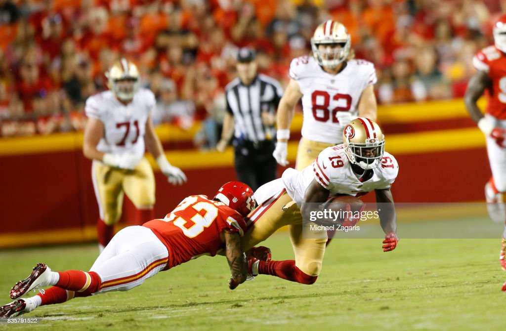 Aldrick Robinson #19 of the San Francisco 49ers makes a reception during the game against the Kansas City Chiefs at Arrowhead Stadium on August 11, 2017 in Kansas City, Missouri. The 49ers defeated the Chiefs 27-17.