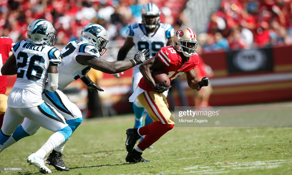 Aldrick Robinson #19 of the San Francisco 49ers runs after making a reception during the game against the Carolina Panthers at Levi's Stadium on September 10, 2017 in Santa Clara, California. The Panthers defeated the 49ers 23-3.