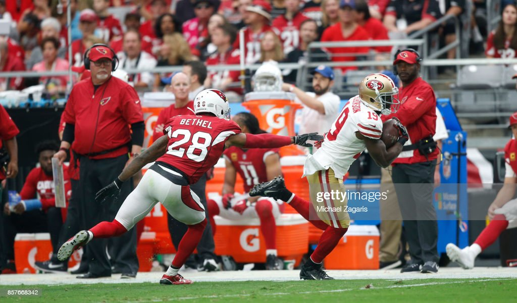 Aldrick Robinson #19 of the San Francisco 49ers runs after making a reception during the game against the Arizona Cardinals at the University of Phoenix Stadium on October 1, 2017 in Phoenix, Arizona. The Cardinals defeated the 49ers 18-15.
