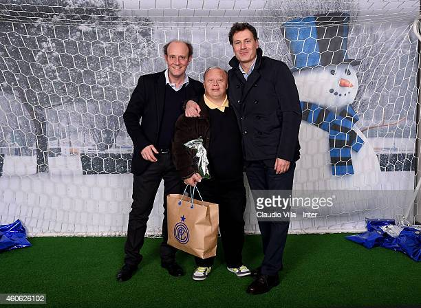 Ale and Franz attend FC Internazionale Christmas Party at San Siro Lounge on December 17 2014 in Milano Italy