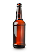 shot of a ale or beer bottle on a pure white background cut out with clipping path and copy space.