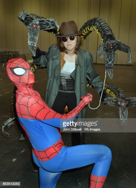 Alea Holland and Andrew Trim wearing comic character outfits at the Comic Con exhibition which brings together fans of Comic book heros and villians...