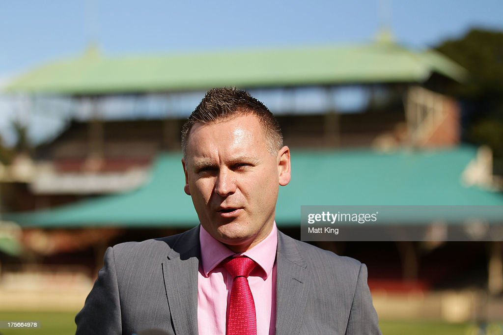 A-League CEO Damien De Bohun speaks to the media during a Central Coast Mariners A-League media announcement at North Sydney Oval on August 6, 2013 in Sydney, Australia.