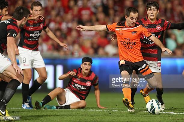ALeague semi final Western Sydney Wanderers FC v Brisbane Roar FC at Parramatta Stadium Brisbane Roars Steven Lustica in action Friday 12th April...
