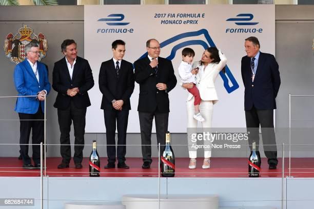 Aleandro Agag CEO of Formula E and Louis Ducruet and the Prince Albert of Monaco and Charlotte Casiraghi Sebastien Buemi of Swizerland during the...