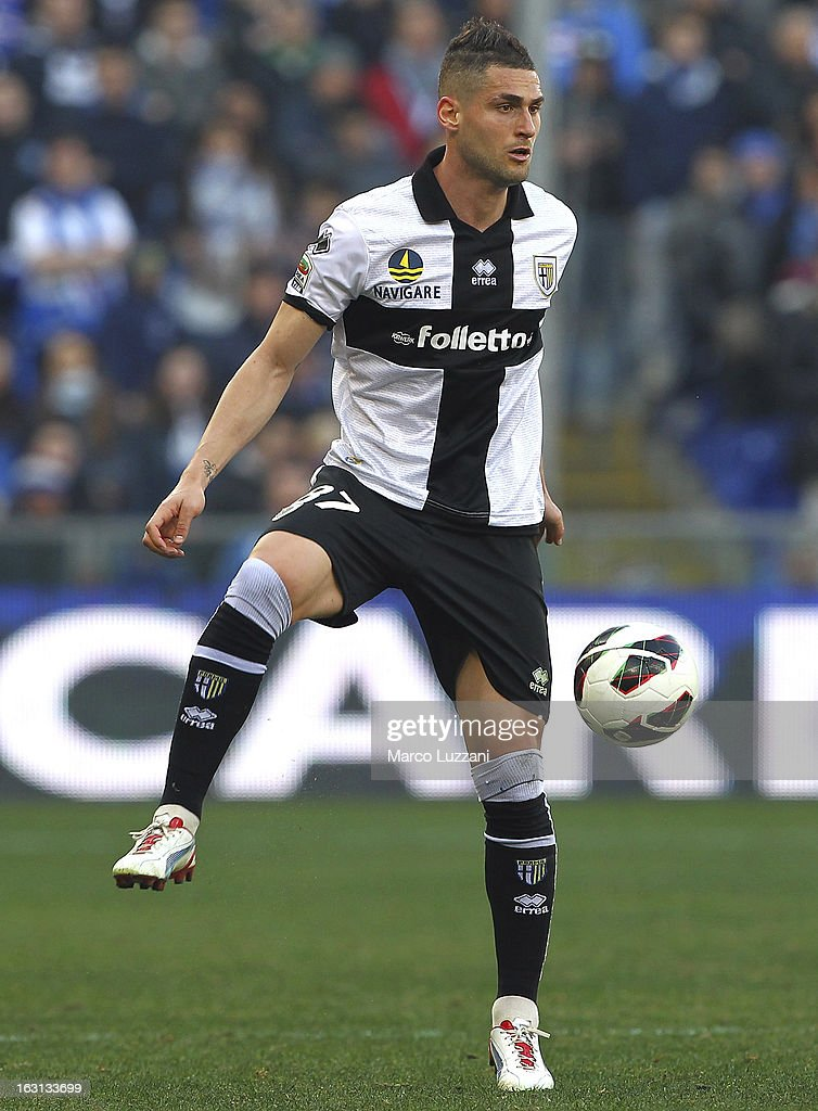 Aleandro Rosi of Parma FC in action during the Serie A match between UC Sampdoria and Parma FC at Stadio Luigi Ferraris on March 3, 2013 in Genoa, Italy.