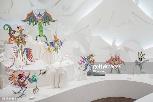 Alebrijes Mexican folk art sculptures sit on display at the Museo de Arte Popular in Mexico City Mexico on Saturday Oct 14 2017 The first alebrijes...