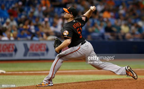 Alec Asher of the Baltimore Orioles pitches during the third inning of a game against the Tampa Bay Rays on June 23 2017 at Tropicana Field in St...