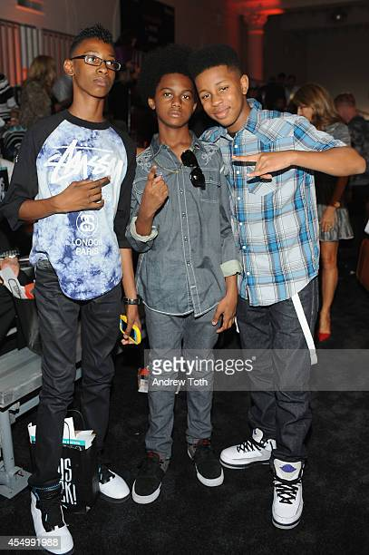 Alec Atkins Malcolm Brickhouse and Jarad Dawkins of Unlocking the Truth attend Nike/Levi Kids fashion show during MercedesBenz Fashion Week Spring...