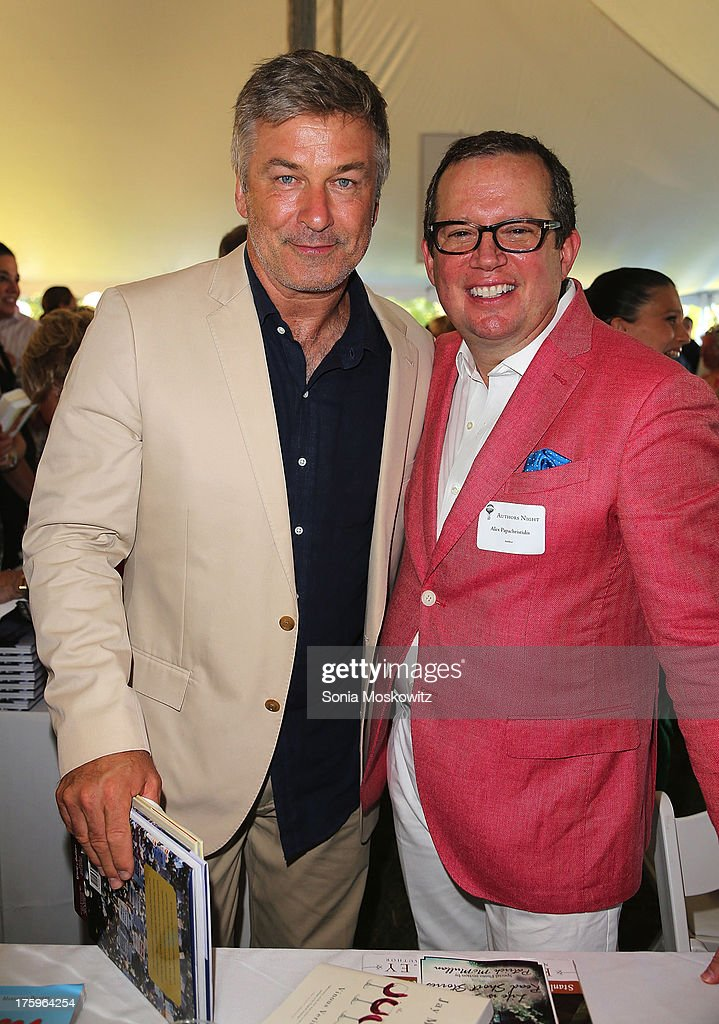 <a gi-track='captionPersonalityLinkClicked' href=/galleries/search?phrase=Alec+Baldwin&family=editorial&specificpeople=202864 ng-click='$event.stopPropagation()'>Alec Baldwin</a> and Alex Papachristides attend the East Hampton Library's Authors Night 2013 at Gardiner's Farm on August 10, 2013 in East Hampton, New York.
