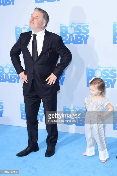 Alec Baldwin and Carmen Gabriela Baldwin attend 'The Boss Baby' New York Premiere at AMC Loews Lincoln Square 13 theater on March 20 2017 in New York...