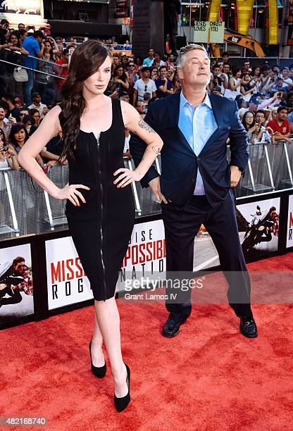 Alec Baldwin and daughter Ireland Baldwin attend the 'Mission Impossible Rogue Nation' New York Premiere at Duffy Square in Times Square on July 27...