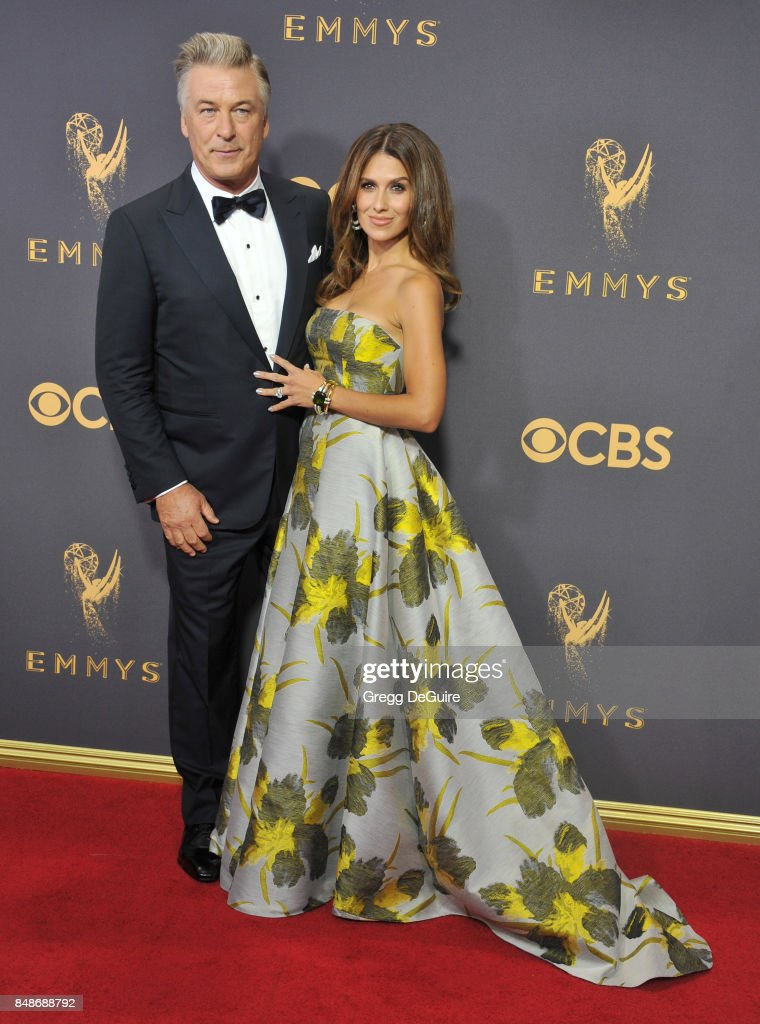 Alec Baldwin and Hilaria Baldwin arrive at the 69th Annual Primetime Emmy Awards at Microsoft Theater on September 17, 2017 in Los Angeles, California.