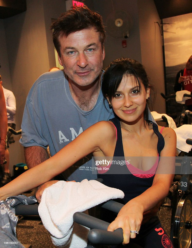 Alec Baldwin (L) and Hilaria Thomas Baldwin attend SoulCycle's Soul Relief Rides at SoulCycle Tribeca on November 11, 2012 in New York City.