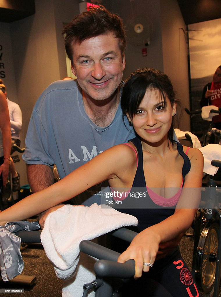 <a gi-track='captionPersonalityLinkClicked' href=/galleries/search?phrase=Alec+Baldwin&family=editorial&specificpeople=202864 ng-click='$event.stopPropagation()'>Alec Baldwin</a> (L) and Hilaria Thomas Baldwin attend SoulCycle's Soul Relief Rides at SoulCycle Tribeca on November 11, 2012 in New York City.
