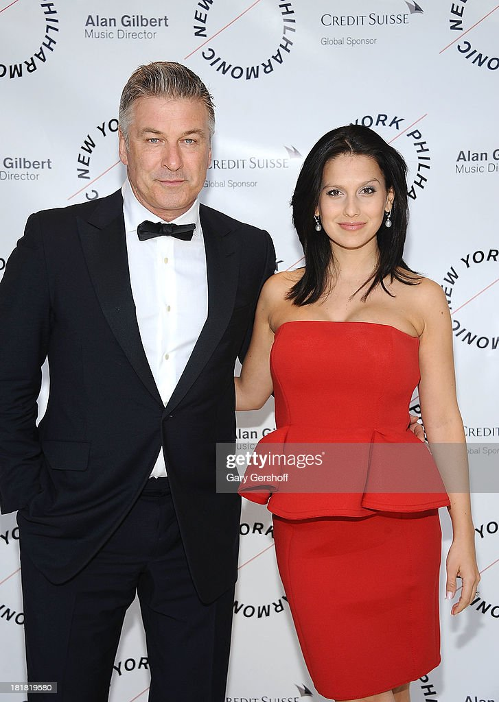 Alec Baldwin (L) and Hilaria Thomas Baldwin attend the New York Philharmonic 172nd Season Opening Night Gala at Avery Fisher Hall, Lincoln Center on September 25, 2013 in New York City.