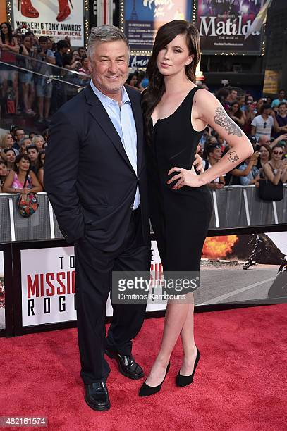 Alec Baldwin and Ireland Baldwin attend the New York premiere of Mission Impossible Rogue Nation at the AMC Lincoln Square in Times Square on July 27...