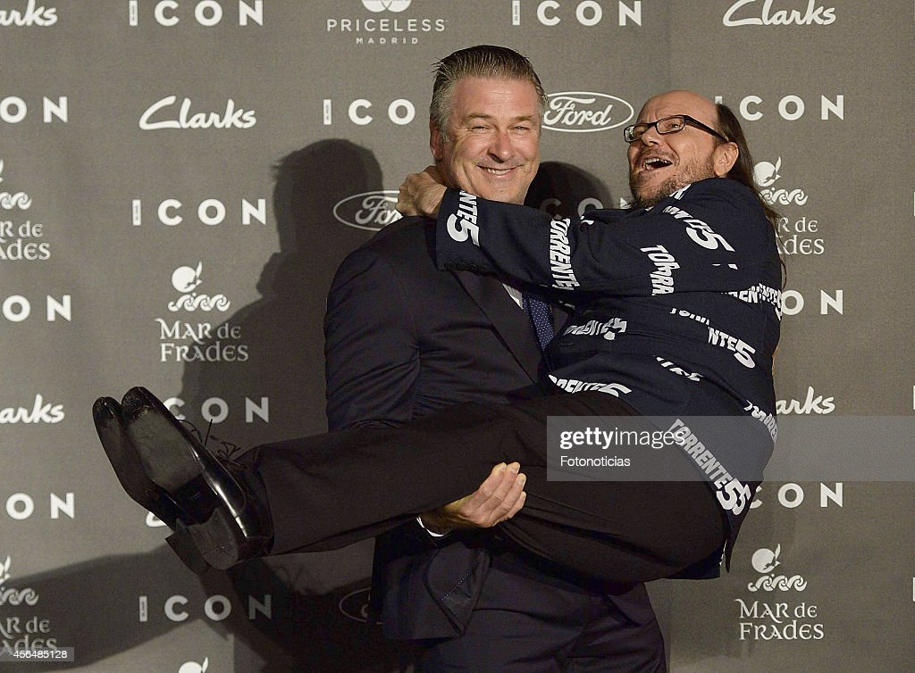 Alec Baldwin and Santiago Segura attend the 2014 Icon Magazine Awards ceremony at the Italian Consulate on October 1 2014 in Madrid Spain